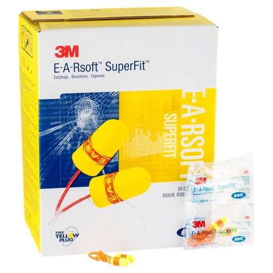 3M™ E-A-RSOFT™ SUPERFIT™ EARPLUGS 311-1254, CORDED, POLY BAG, REGULER SIZE