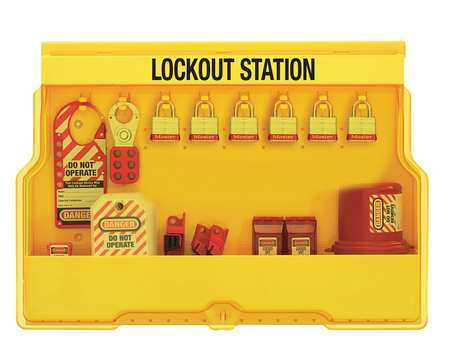 MASTER LOCK S1850E3 OSHA LOCKOUT STATION WITH ELECTRICAL LOCKOUT