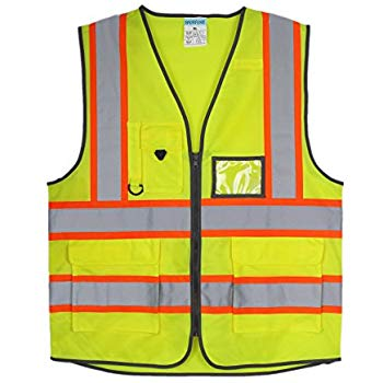 TWO TONE HIGH VISIBILITY FABRIC & MESH SAFETY VEST – 4 POCKETS