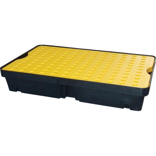 60 LITER CAPACITY POLY SPILL TRAY WITH PLATFORM GRID FL-205-518