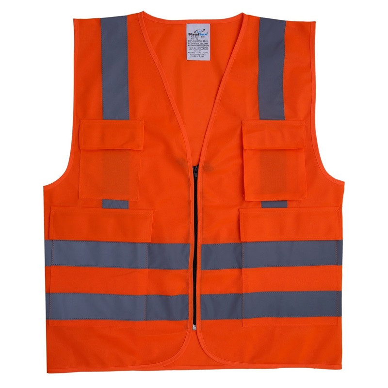 REFLECTIVE FABRIC VEST WITH 4 POCKETS