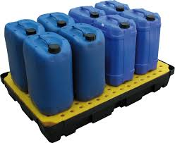 100 LITRE CAPACITY POLY SPILL TRAY WITH PLATFORM GRID FL-205-519