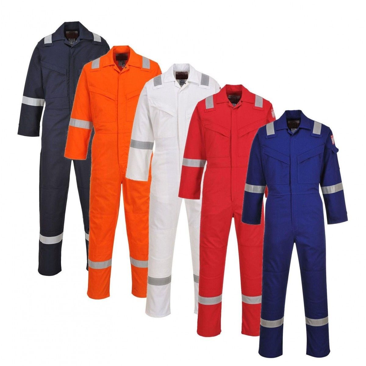100% COTTON COVERALL, WITH REFLECTIVE STRIPES