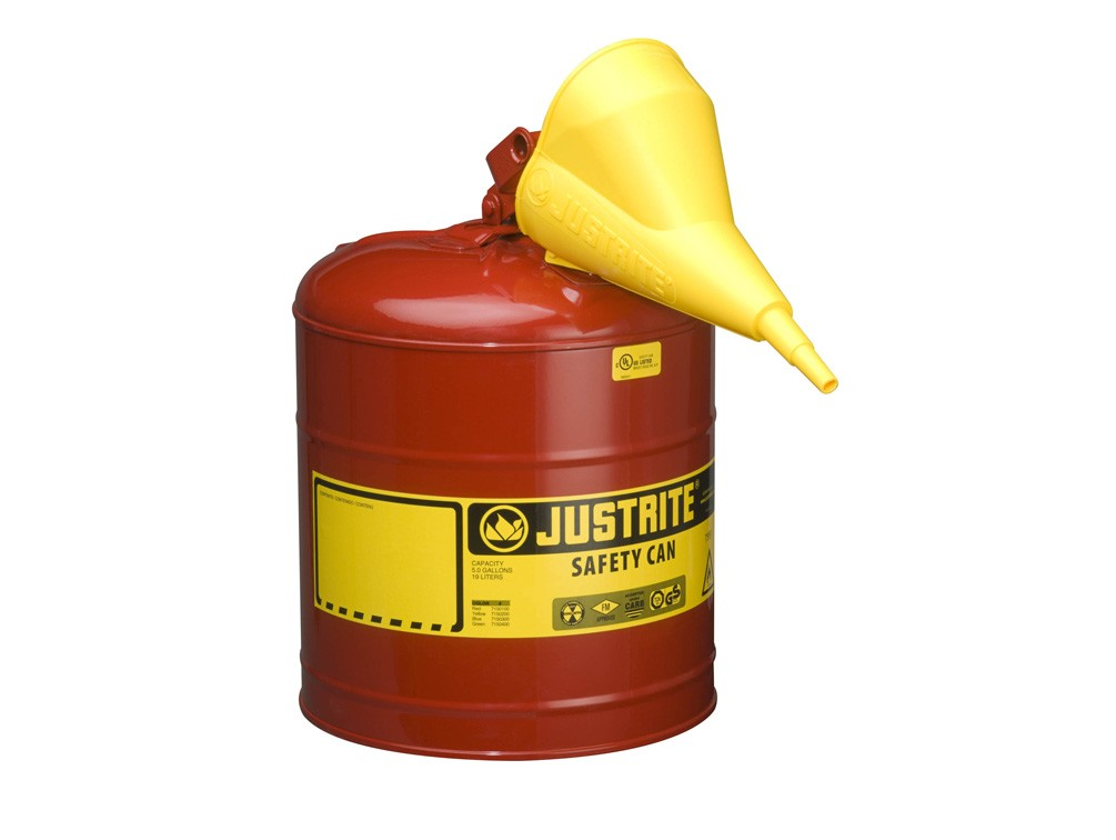 JUSTRITE TYPE I STELL SAFETY CAN FOR FLAMMABLES WITH FUNNEL, 5 GALLON, RED