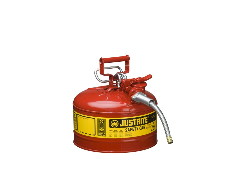 JUSTRITE TYPE II ACCUFLOW™ STELL SAFETY CAN, FOR FLAMMABLES, 2.5 GALLON, 5/8″ METAL HOSE