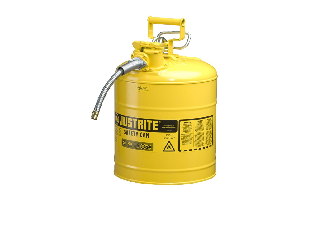 JUSTRITE TYPE II ACCUFLOW™ STEEL SAFETY CAN FOR FLAMMABLESl, 5 GALLON, 5/8″ METAL HOSE