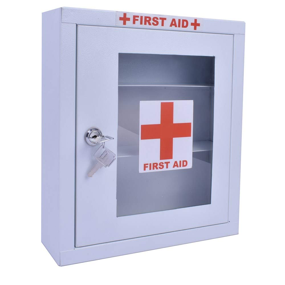 EMERGENCY FIRST AID KIT METAL BOX WALL MOUNTED MULTI COMPARTMENT (WHITE)