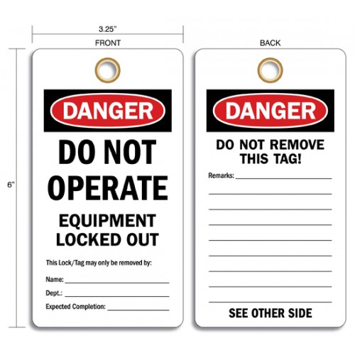 RIGID VINYL LOCKOUT TAGS – DANGER DO NOT OPERATE