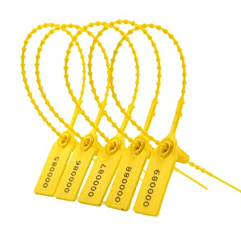 YELLOW TAMPER SEAL (100 Pcs, Plastic, Numbered)