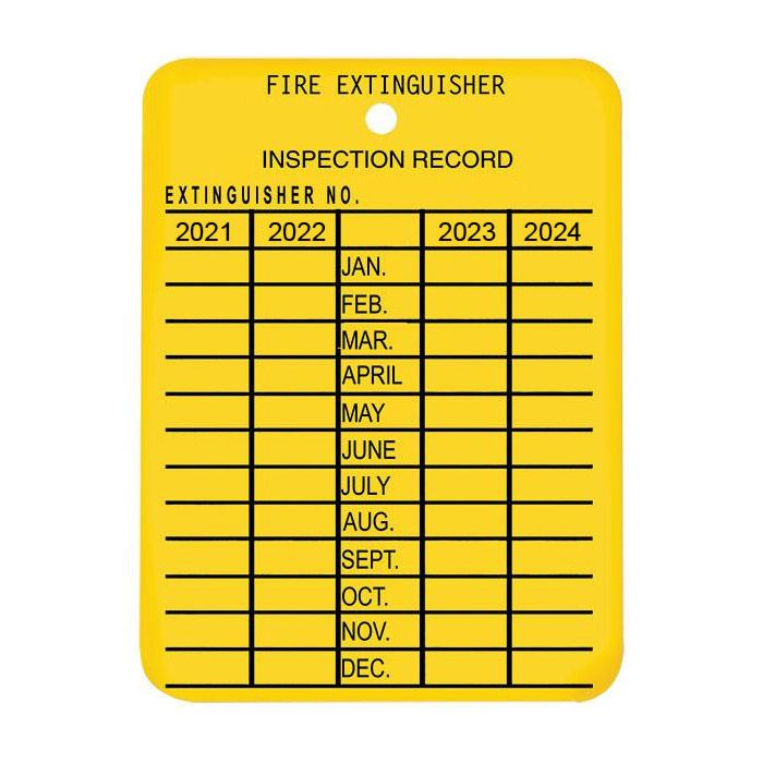 FIRE EXTINGUISHER MONTHLY INSPECTION TAGS (Yellow, Plastic, 4 Year Validation, 2021-2024)